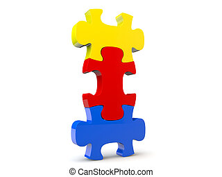 Colorfull jigsaw puzzle, 3d render isolated on white