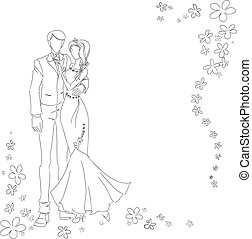 Wedding couple monochrome - Man and woman drawing by lines....