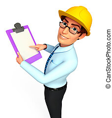 Service man with notepad - 3d rendered illustration of...