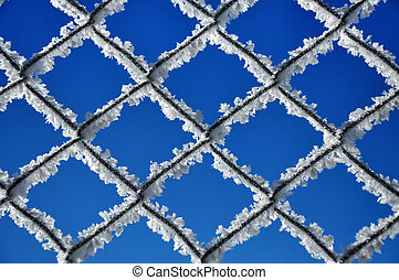 Lattice covered by ice crystals