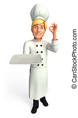 Chef with dish - 3d rendered illustration of Chef with dish