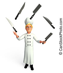 Chef playing with knife - 3d rendered illustration of Chef...