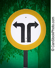 Road signboard showing Left and Right side diversions ahead...