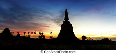 Siluate of old Pagoda in Ayutthaya,Thailand
