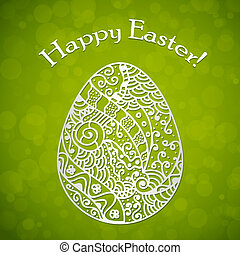 Happy Easter background with hand drawn egg