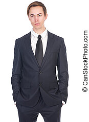 Portrait of a young business man in black suit