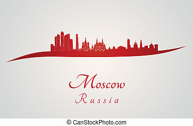 Moscow skyline in red and gray background in editable vector...