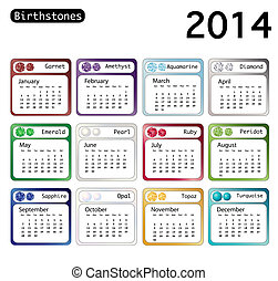 Birthstone calendar 2014 - A 2014 calendar showing...