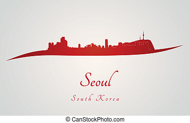 Seoul skyline in red and gray background in editable vector...