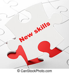 Education concept: New Skills on puzzle background -...
