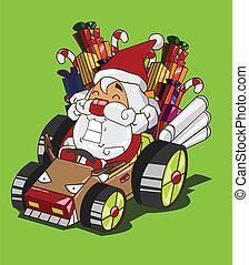 Santa Claus drives a car reindeer