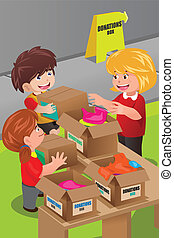 Woman collecting clothing donations - A vector illustration...