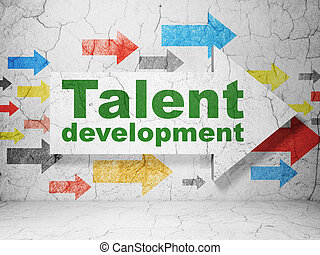 Education concept: arrow with Talent Development on grunge...