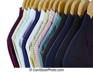 Shirts and Suits Front - In front of shirts and suits on...