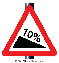10 Percent Incline Traffic Sign - The traditional '10%...