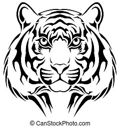 Tiger, tribal tattoo - Vector tiger executed in the form of...