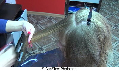 hair stylist cut - hands of professional hair stylist cut...