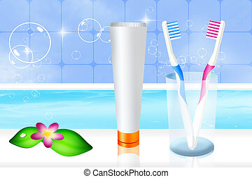 toothbrushes and toothpaste - illustration of toothbrushes...