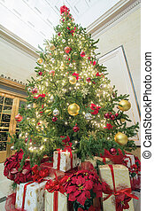Christmas Tree with Presents Tall Perspective - Christmas...