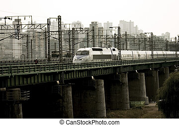 Han River Railway Bridge Train in south korea