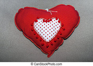 hand made hart shapes from textile and cotton