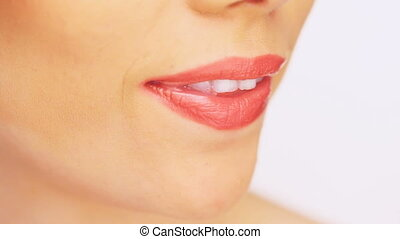 Beautiful toothy female smile - Close up of a beautiful...