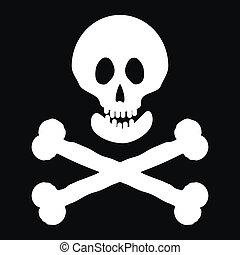 Jolly Roger flag. Vector illustration.
