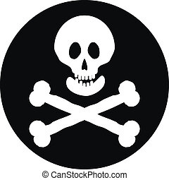 Jolly Roger flag button - Jolly Roger flag button on a white...