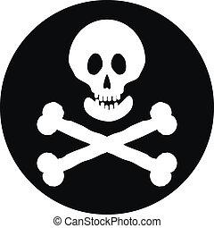 Jolly Roger flag button. - Jolly Roger flag button on a...