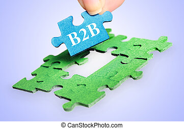 Puzzle word B2B on blue background