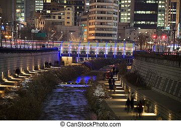 Night view of Cheonggyecheon in Seoul in South Korea