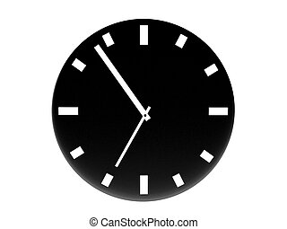TIME - CLOCK - front view of 3d clock on an isolated white...
