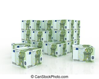 MONEY - euro bill boxes in pile