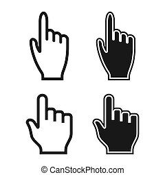 Woman and Man Hands. Cursor Icons. Mouse Pointer Set. Vector