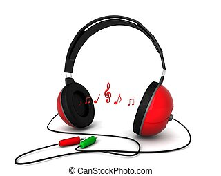 three dimensional view of headphone with cord - isolated...
