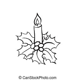 Christmas candle with holly sketch - Vector hand drawn...