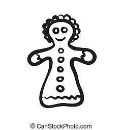 Christmas gingerbread girl sketch - Vector hand drawn...