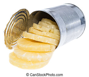 Canned Pineapples in a tin - Portion of canned sliced...