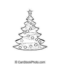 Decorated Christmas tree sketch