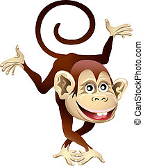 Cheerful monkey - Funny illustration with dancing cheerful...