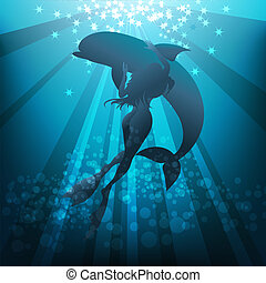 Girl and dolphin - Illustration with longhaired young woman...