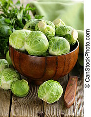 green brussel sprouts - fresh raw organic green brussel...