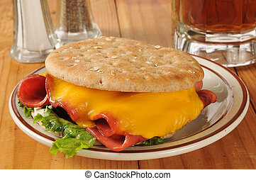 Fried bologna sandwich with root beer - A fried bologna...