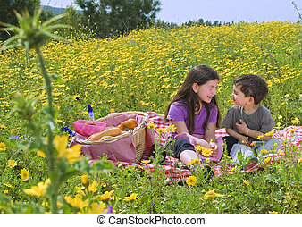 boy girl picnic - little boy and girl having a picnic in a...