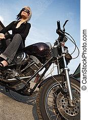 motocicleta, niña, ángulo