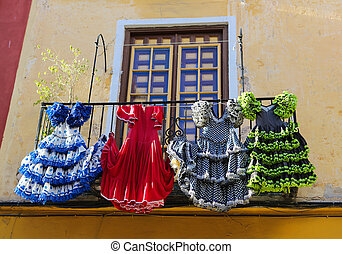 Flamenco - Traditional flamenco dresses at a house in...