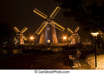 "Beautiful night view in South Korea,""Jeju"" Island,Windmill"
