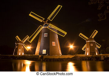 Beautiful night view in South Korea,Jeju Island,Windmill