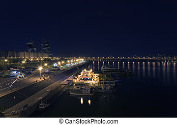 """Beautiful night view of the """"Han"""" River in """"Seoul"""", South..."""
