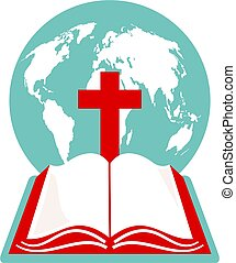 holy bible - A world globe, cross and holy bible